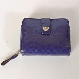 Purple Coach Wallet with Zipper Pull & Snap Cover